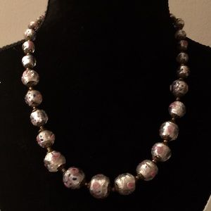 Jewelry - Vintage frosted glass beads with abstract painting